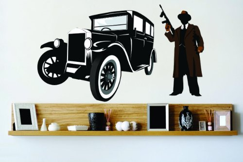 Vinyl Wall Decal Sticker : Gangster Mafia Boss With Gun Old Fashion Hotrod Street Car Bedroom Bathroom Living Room Picture Art Peel & Stick Mural - Discounted Sale Price Size: : 12 Inches X 24 Inches - 22 Colors Available