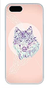 iPhone 5S Case, Unique Design Protective iPhone 5 5S PC Hard White Edge - Triangle Fox Case Cover