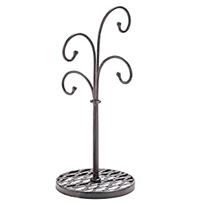 Curved Tree 4 Arm Metal Kitchen Stand Cups and Mugs Holder in Mahogany Finish - 16""