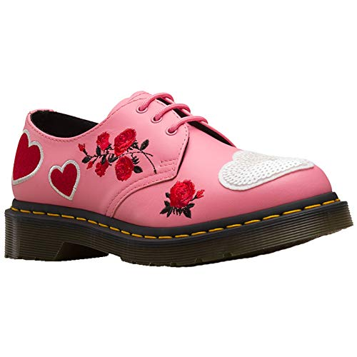 (Dr. Martens Women's 1461 Hearts Core Applique Geranium Pink/White 7 M UK)