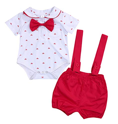 Baby Boys Gentleman Outfits Suits, Short Sleeve Romper with Tie and Overalls Bib Pants Clothing Set Summer (Red, 12 Months)