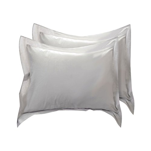 uxcell Pillow Shams Oxford Pillow Cases Egyptian Cotton 300 Thread Count Solid/Plain Pattern Silver Gray 26 x 26 Inch Set of (Cotton Egyptian Cotton Decorative Pillow)