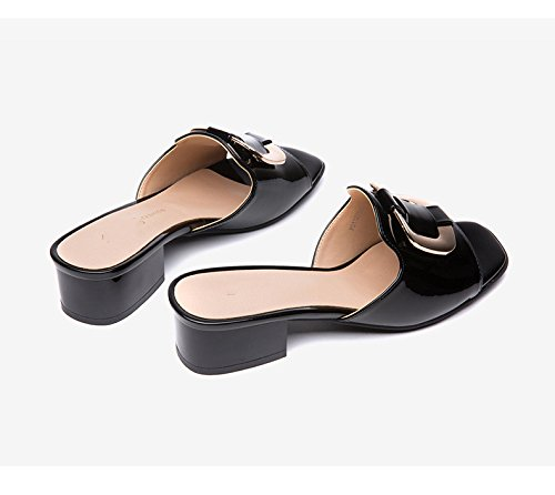 in The with Slippers Black Head Square Sandals Summer Women's XxI1nYw