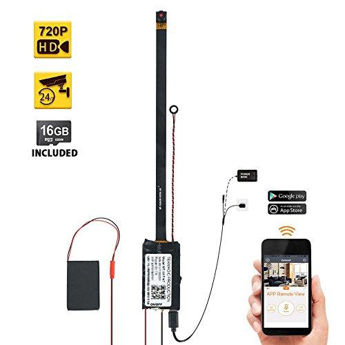 WISEUP 720P HD Mini WiFi Hidden Camera - Wireless Nanny Cam 16GB Memory Card Built-in, Full Time Recording, Multiple Power Methods