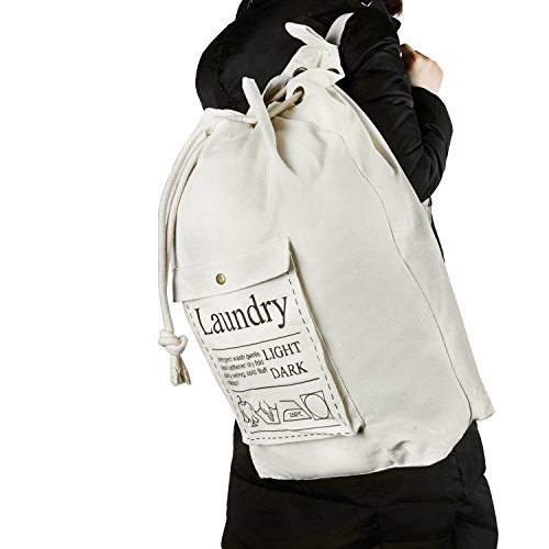 HBlife Laundry Bag Backpack Spacious Drawstring Cotton Canvas with Strong Adjustable Shoulder Straps Washing Storage Organizer Travel Bag by HBlife (Image #6)