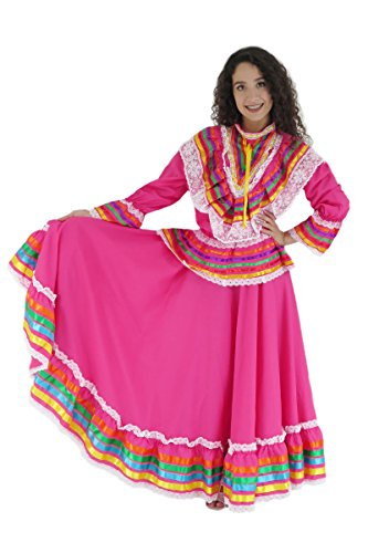 Mexican Clothing Co Womens Mexican Jalisco Dress (Blouse and Skirt) Poplin one Size Pink 2144]()
