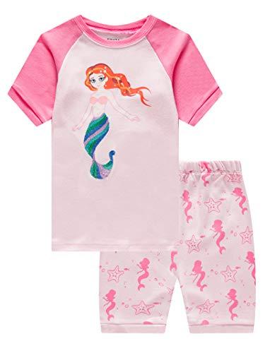 Mermaid Baby Girls Short Sleeve Pajamas 100% Cotton Pjs Size 18-24 Months]()