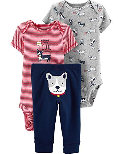 Carter's 3 Piece Little Character Set, Cute Dog, 6 - Stripe Pants Shadow