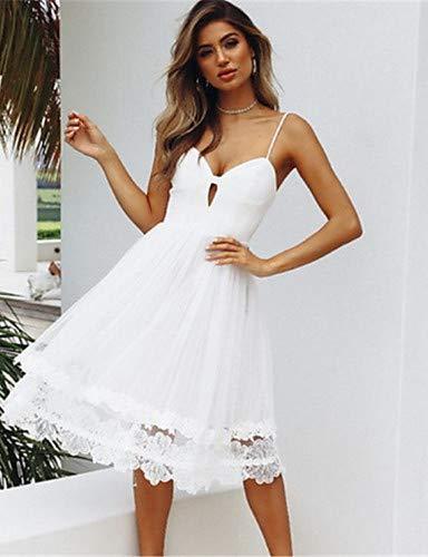 m Línea Profundo Color white Ttskirt Vestido De Mujer En Para V Liso 1xgYwPqE