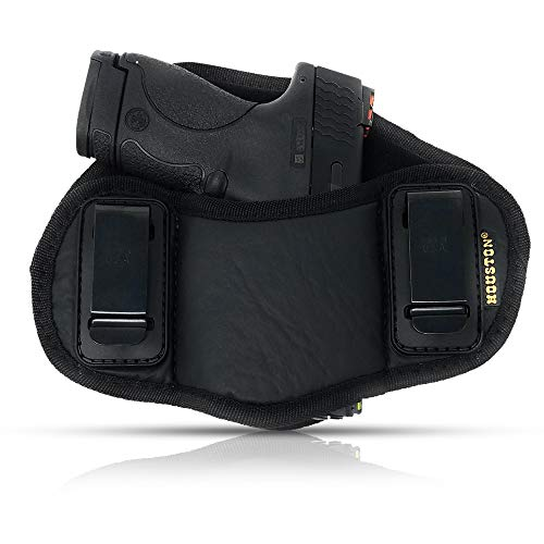 Tactical Pancake Gun Holster Houston - ECO Leather Concealed Carry Soft Material | Suede Interior for Protection | IWB | Right Hand | Fit: Glock 19 23 32 26 27 33 30 | M&P Shield, XDs, Taurus PT111 (Best Appendix Carry Holster)