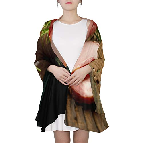 - Super Delicious Food Ham Unique Fashion Scarf For Women Lightweight Fashion Fall Winter Print Scarves Shawl Wraps Gifts For Early Spring