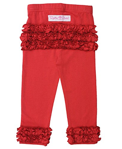 RuffleButts Baby/Toddler Girls Red Everyday Ruffle Leggings - 12-24m