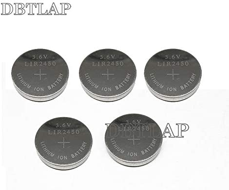 DBTLAP 5pcs/Pack 3.6V LIR2450 Rechargeable Batteries 120mAh 500 Times Recycling Lithium Coin Cell Button Battery Replaced CR2450
