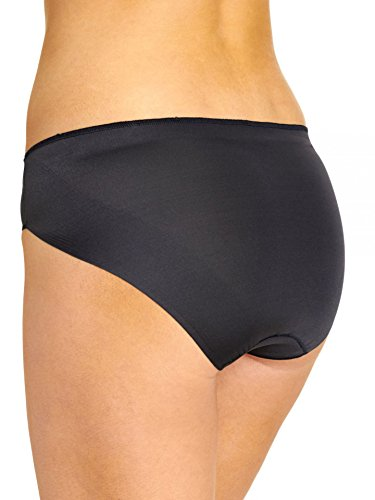 TC Fine Intimates Women's TC Edge Microfiber Hi-Cut Brief A404 Black Briefs LG by TC Fine Intimates (Image #2)