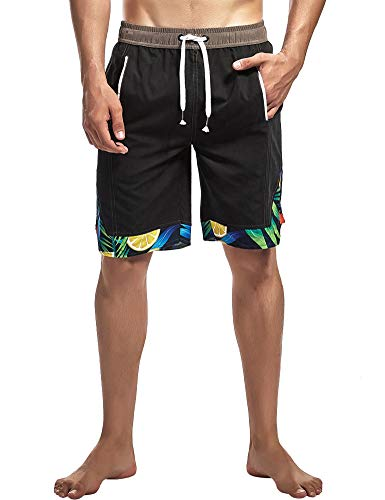 Tyhengta Mens Swim Trunks Quick Dry Board Shorts Bathing Suits with Mesh Lining Black -