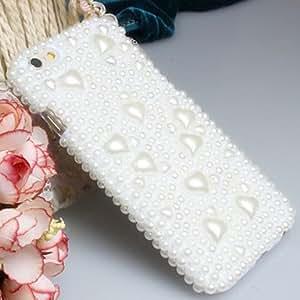 WQQ Fashion Diagonal Pearl Heart Case Bowknot Pattern Rhinestone Case for iPhone6 plus