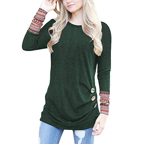 FONMA Women Long Sleeve Tops Loose Button Blouse Patchwork Round Neck Tunic T-Shirt Green