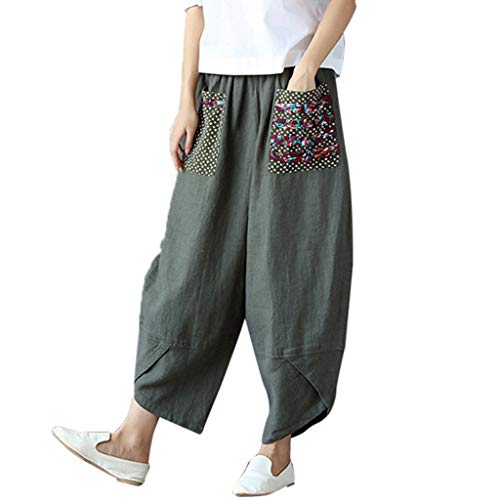 F_topbu Women Casual Pants Retro Wide Leg Harem Pants Cotton Linen Baggy Long Trousers Pants Army Green
