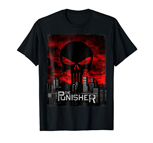 Marvel The Punisher Skyline Cityscape Skull Graphic T-Shirt