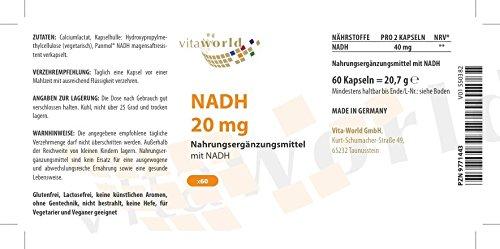 NADH 20mg 60 Cápsulas Vita World Farmacia Alemania - Nicotinamida Adenina Dinucleótido-Hydrid - Energía - ATP: Amazon.es: Salud y cuidado personal