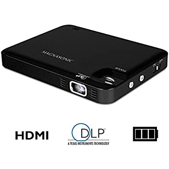 Magnasonic LED Pocket Pico Video Projector, HDMI, Rechargeable Battery, Built-in Speaker, DLP, 60 inch Hi-Resolution Display for Streaming Movies, Presentations, Smartphones, Tablets, Laptops (PP60)
