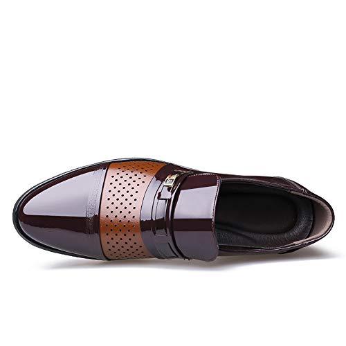 Ahuecados De Charol Masculina zapatos Jialun Transpirables Casual Oxford Negocio Marrón Y Zapatos Moda RxpaTTwqnz