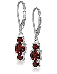Sterling Silver Garnet 3-Stone Dangle Earrings