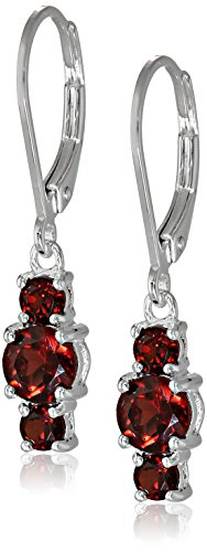 ine Garnet 5mm and 3mm Three Stone January Birthstone Leverback Dangle Earrings (Birthstone Dangle)