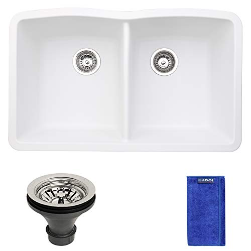 EGD-3219-W 32x19 Inch Equal 50/50 Double Bowl Undermount Granite Composite Quartz Kitchen Sink, White Color