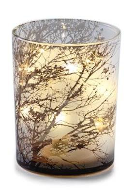 Zodax Medium Tree Etched LED Glass Murricane - Etched Glass Diffuser