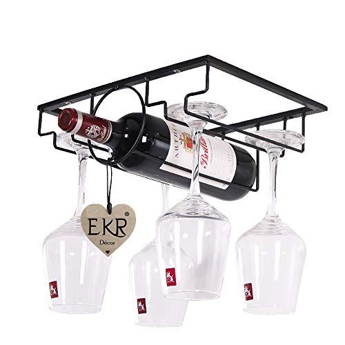 EKR Home kitchen dining wine accessories under cabinet stemware glass/bottle rack holder hanger storage organizer bar counter 1 bottle shelf rack and 2 shelves glasses rack (1 Bottle)