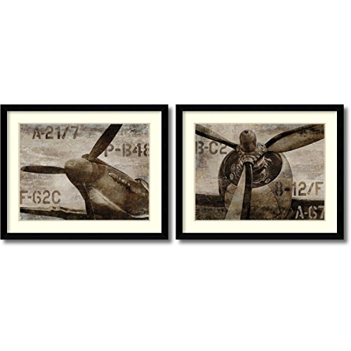 Framed Art Print, 'Vintage Airplane- set of 2' by Dylan Matthews: Outer Size 41 x 33