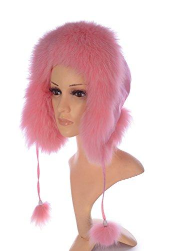 Ysting Genuine Fox Fur Russian Ushanka Hat with Fox Fur Pom Poms (Pink)