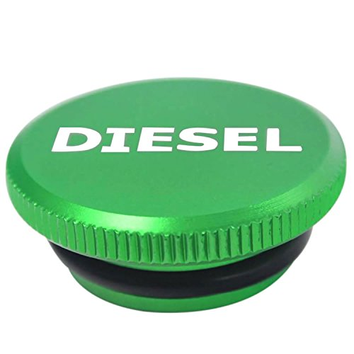 (Diesel Billet Aluminum Fuel Cap Magnetic Green For 2013-2017 Dodge Ram Cummins)