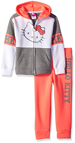 Hello Kitty Little Girls 2 Piece Hooded Fleece Active Set, Coral/Gray, 4