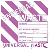 National Marker Corp. HW31SL100 Self-Laminating Labels, Universal Waste W/ Purple Stripes, 6 Inch X 6 Inch, PS Vinyl,Bx100