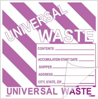 National Marker Corp. HW31SL100 Self-Laminating Labels, Universal Waste W/ Purple Stripes, 6 Inch X 6 Inch, PS Vinyl,Bx100 by National Marker
