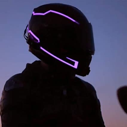 Jpfcak Motorradhelm Lichtgurt Leuchtender Sturzhelm Nachtlicht Verärgertes Licht Städtischer Rollerhelm Lichtgurt Blue Onesize Küche Haushalt