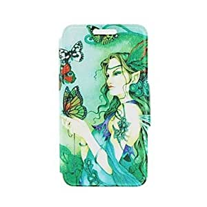 LIMME Kinston Butterfly Goddess Pattern PU Leather Full Body Case with Stand for iPhone 5/5S
