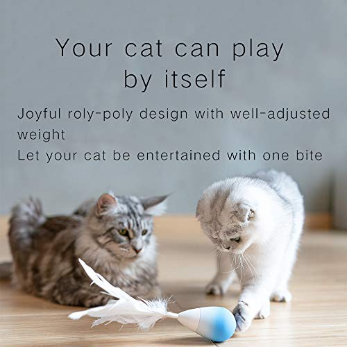 pidan Studio Roly-Poly Feather Teaser Cat Toy with Bell (Newest Version) - Entertain Your Cat While You're Away (Blue)
