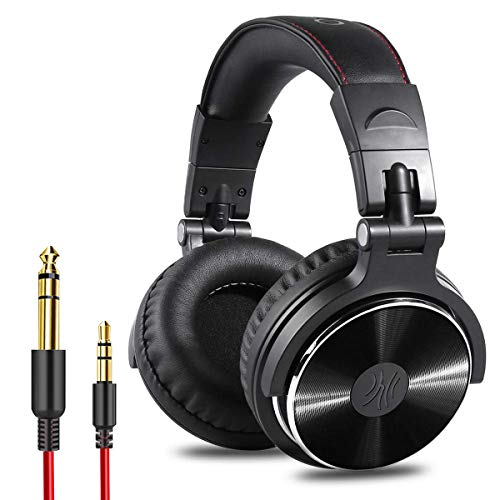OneOdio Adapter-Free Closed Back Over-Ear DJ Stereo Monitor Headphones, Professional Studio Monitor & Mixing, Telescopic Arms with Scale, Newest 50mm Neodymium Drivers – Black
