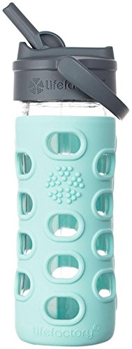 Life Factory Glass Bottle with Straw Cap - Turquoise - 12 oz