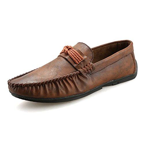 Uomo Mocassini Scarpe da Lavoro da da Barca per Passeggio con Dark Scarpe Scarpe in Tacco Brown Pelle da Uomo 6xg8r6F