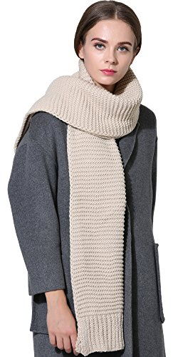 Women Men Winter Thick Cable Knit Wrap Chunky Warm Scarf All Colors Khaki