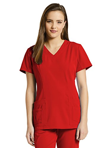 Marvella by White Cross Women's Shaped V-Neck Solid Scrub Top with Pockets Medium Tango Red