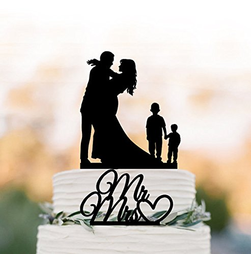 Family Wedding Cake topper with two boy, silhouette wedding cake ...