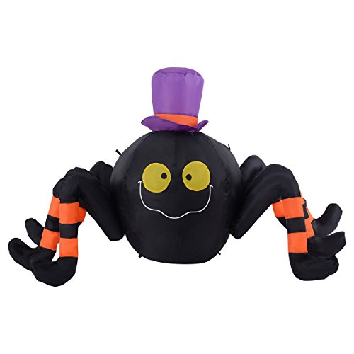 [Tangkula 4FT Inflatable Halloween Spider W/Hat Decoration Air Blown Lighted Outdoor Yard] (Halloween Yard)