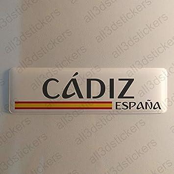 Pegatina Cadiz España Resina, Pegatina Relieve 3D Bandera Cadiz España 120x30mm Adhesivo Vinilo: Amazon.es: Coche y moto