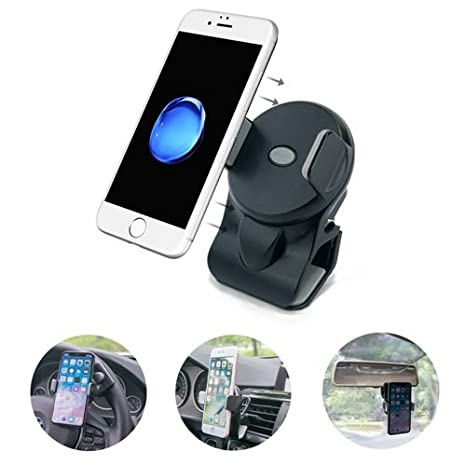 micagos Cell Phone Holder for Car, 3-in-1 Car Phone Mounts, Air Vent Holder Steering Wheel Holder Rearview Mirror Mounting in Vehicle for Universal ...