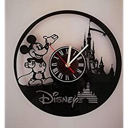 Walt Disney Mickey Mouse Handmade Vinyl Record Wall Clock - Get unique home room wall decor - Gift ideas for parents, teens - Epic Movie Unique Modern Art ...